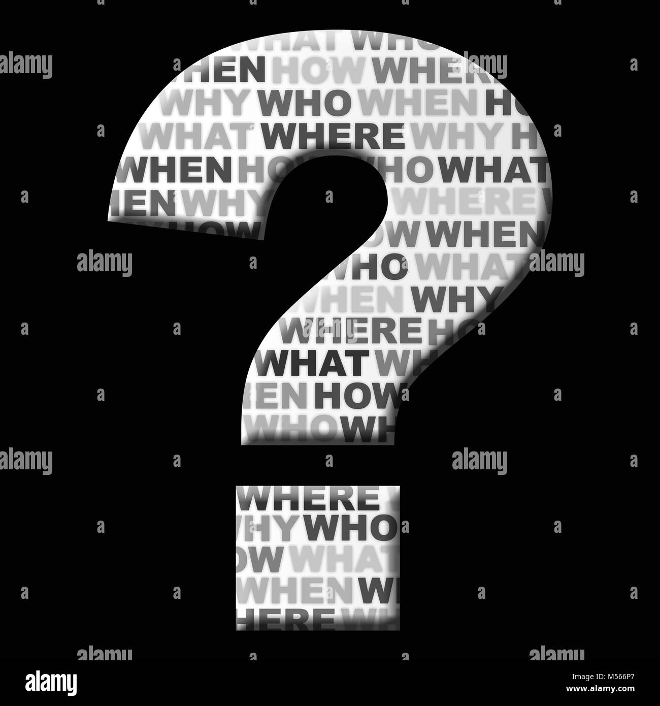 Question mark icon on black background - Stock Image