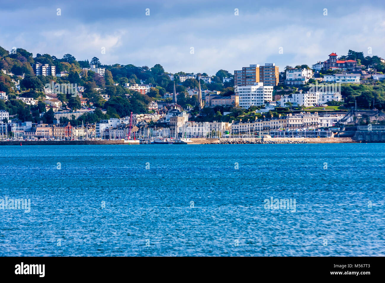 A view across the bay at Brixham in South Devon, UK. - Stock Image