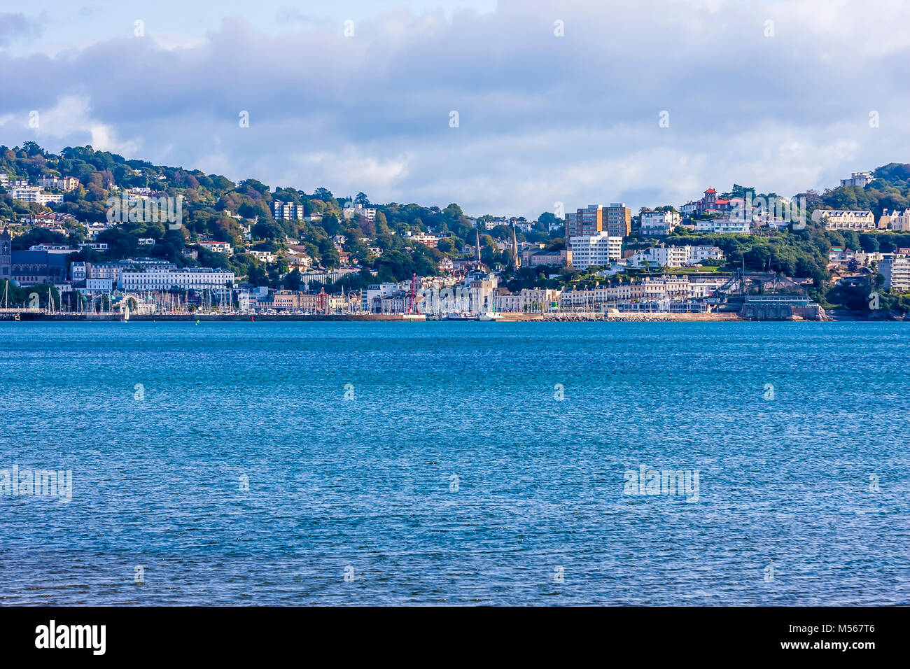 A view across the bay at Brixham, South Devon in England. - Stock Image