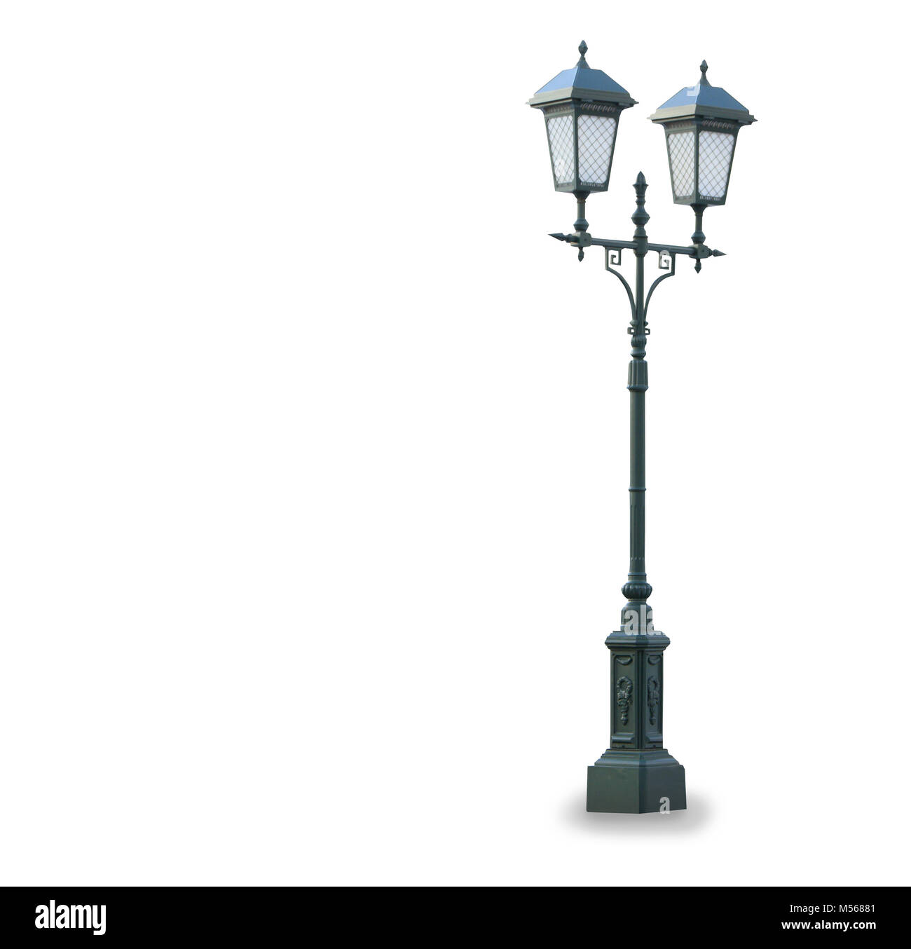 Old vintage stret lamp isolated over white Stock Photo