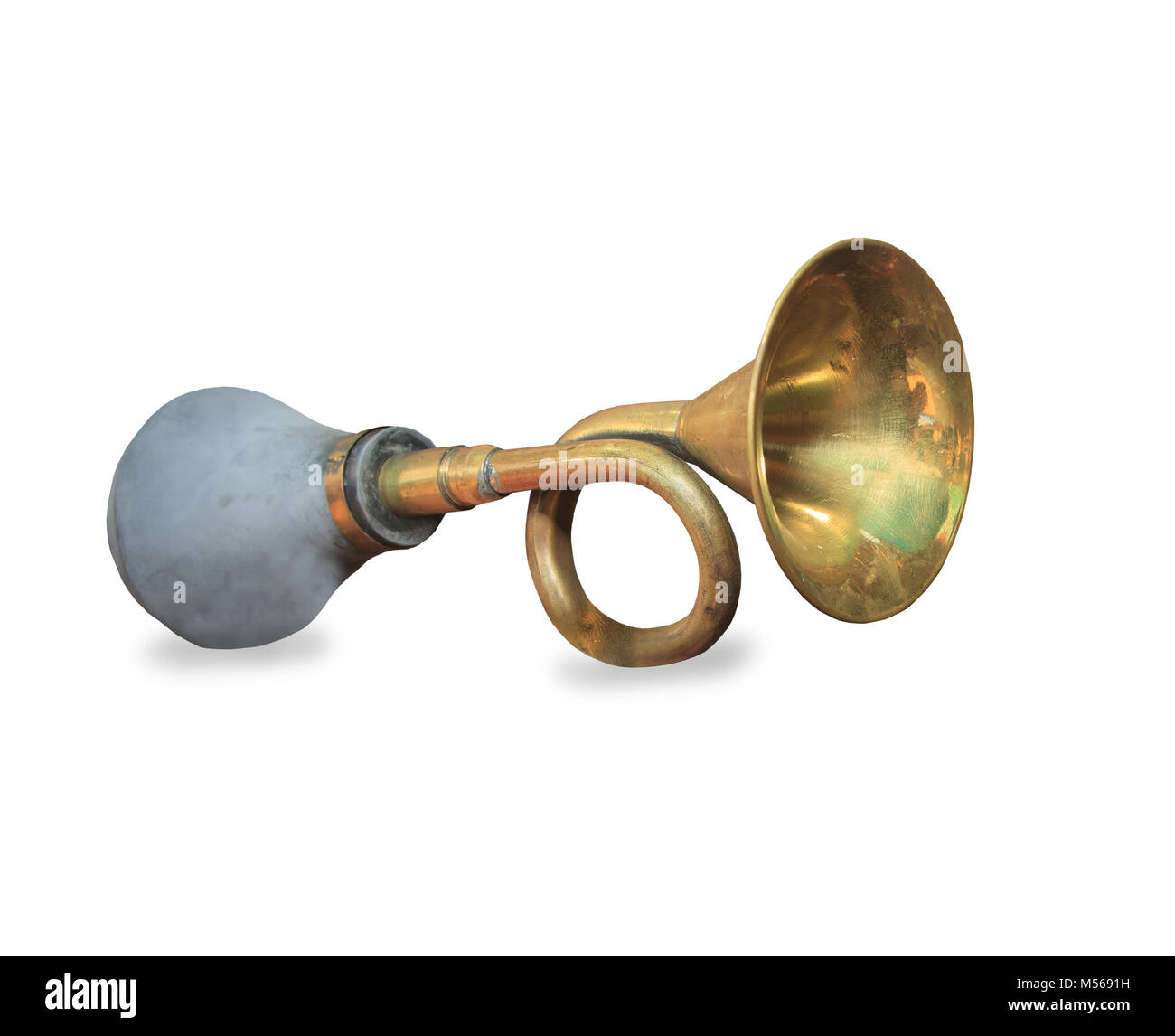 Vintage car horn or klaxon isolated on white background Stock Photo