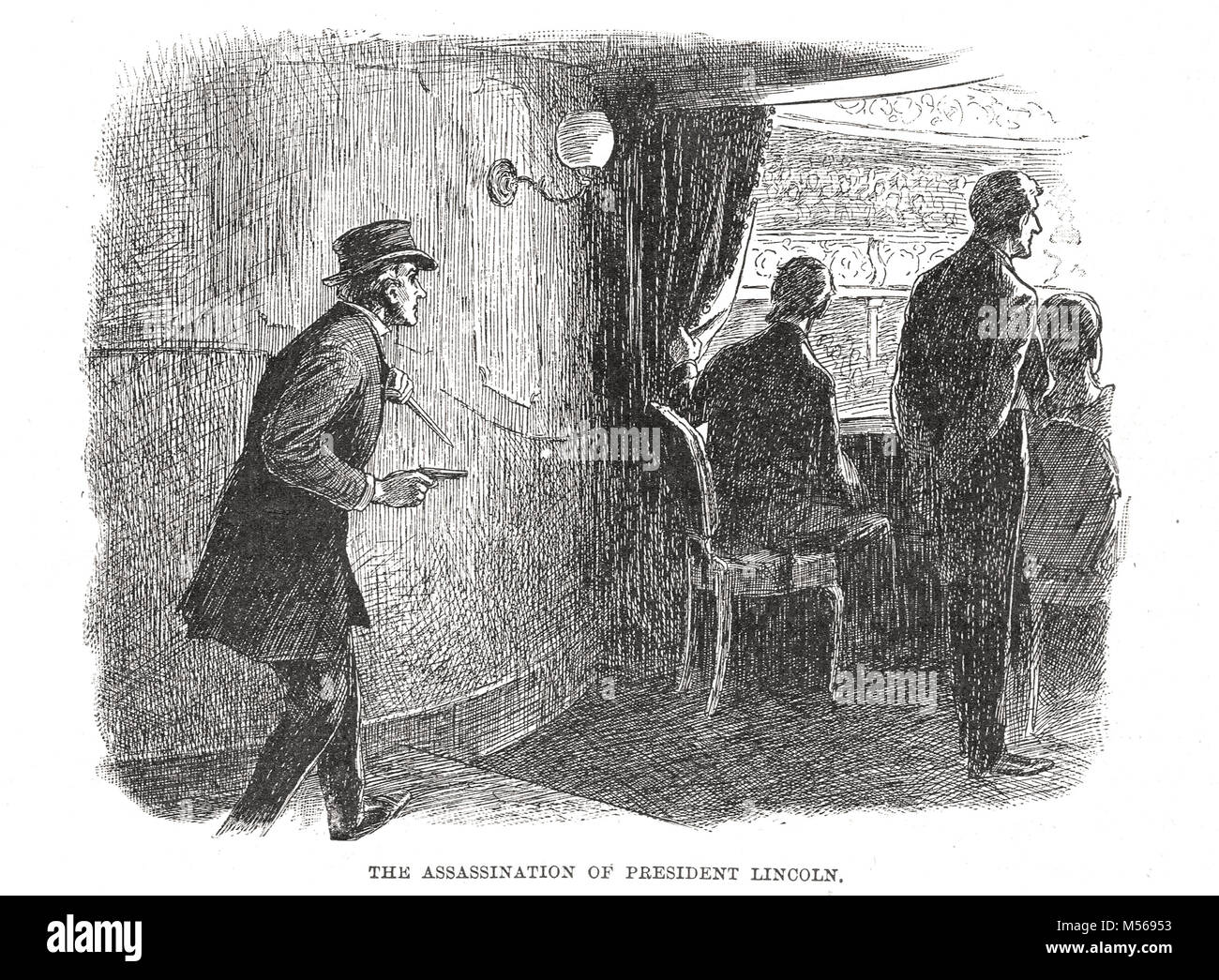 Assassination of Abraham Lincoln by actor John Wilkes Booth, 14 April 1865 at Ford's Theatre, Washington D.C - Stock Image