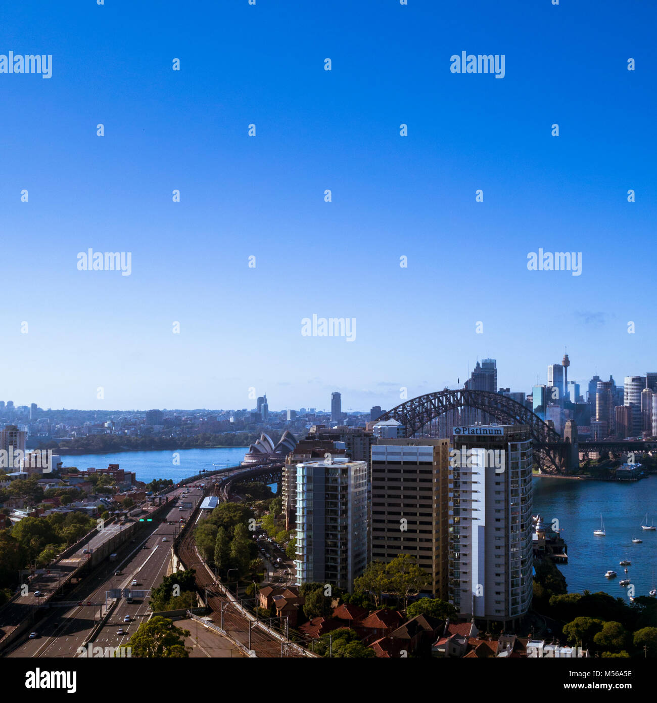 Sydney Harbour view from North Sydney, New South Wales, Australia - Stock Image