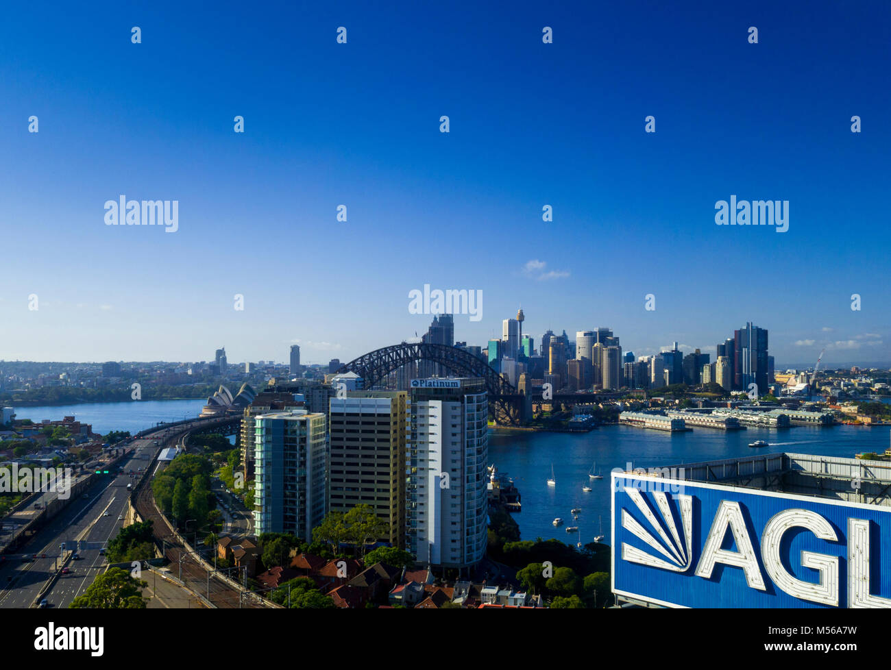 View of Sydney Harbour including Opera House, Harbour Bridge and central business district, Sydney, NSW, Australia - Stock Image