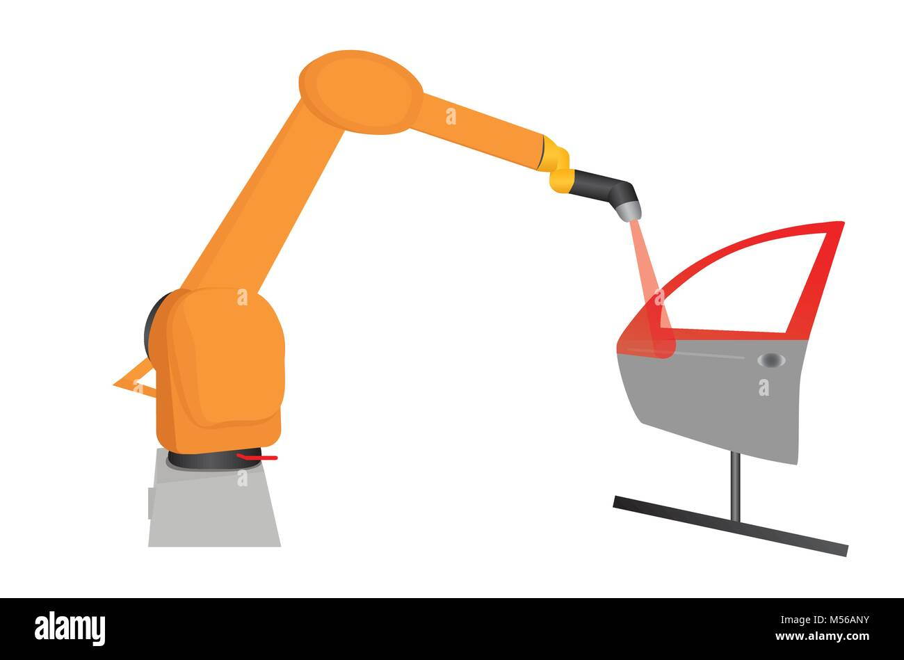 Illustration of industry robot lacquering car door for defects, vector of laser robot varnishing car door/ automation - Stock Vector
