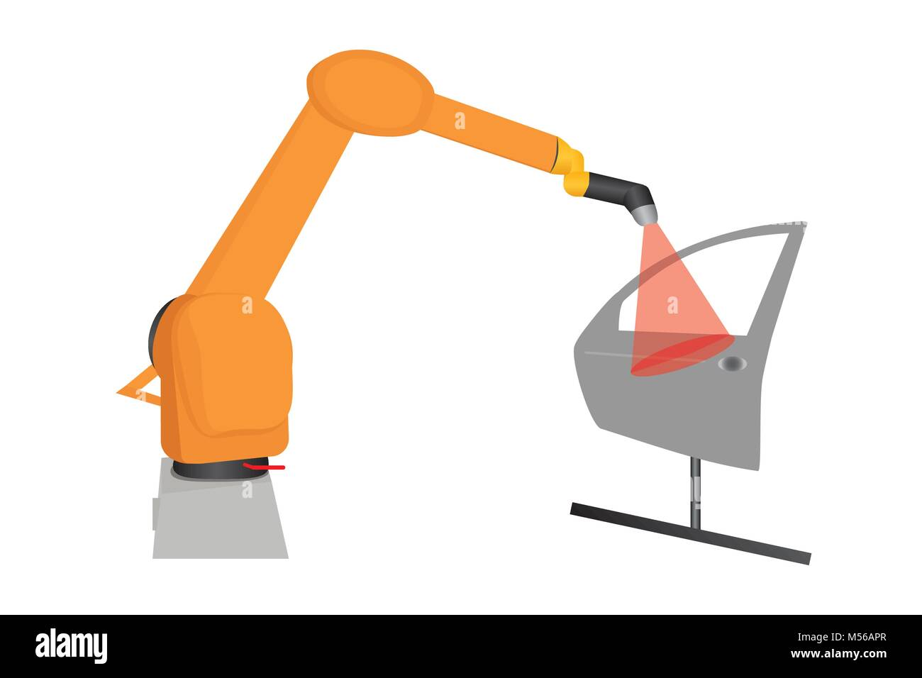 Illustration of industry robot testing produced car door for defects, vector of laser robot doing audit of car door/ - Stock Vector