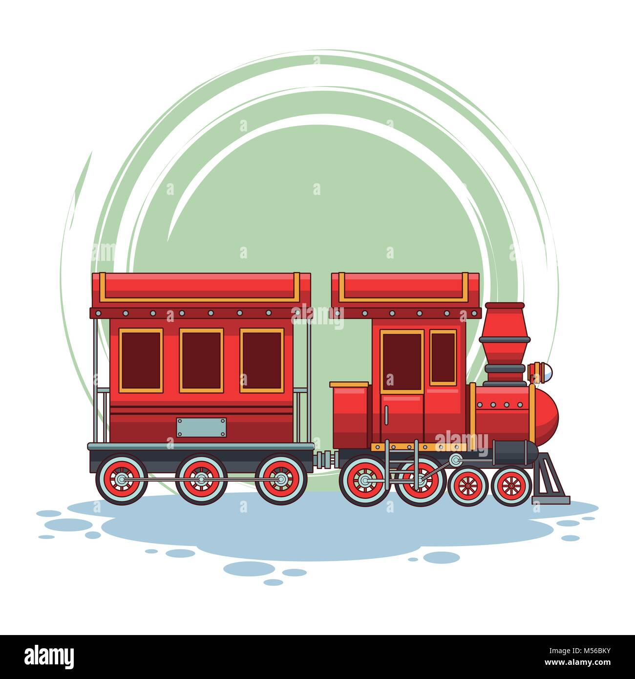 Train riding cartoon - Stock Image