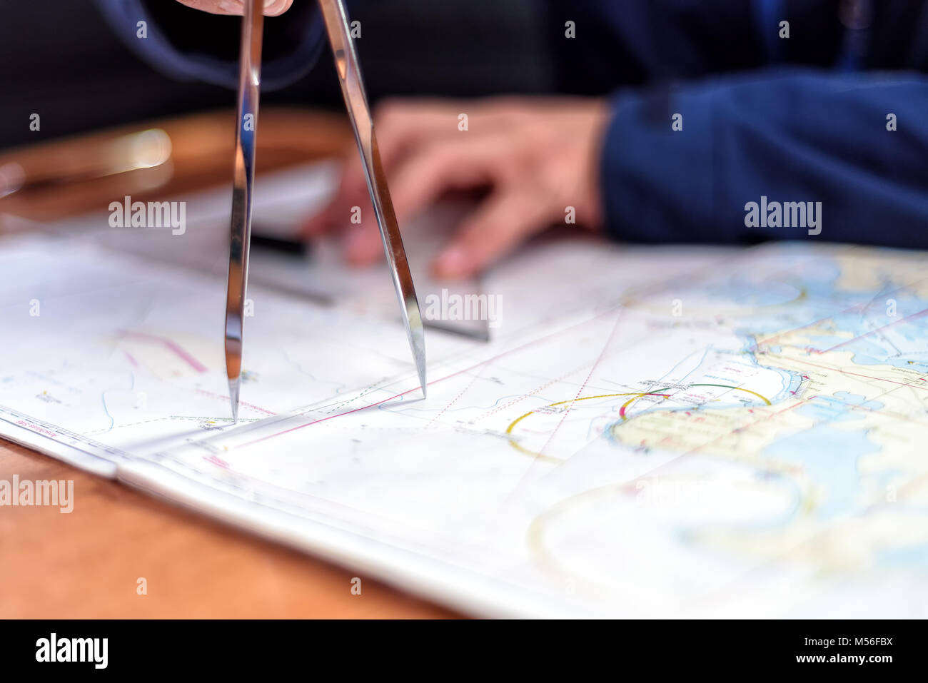 navigation in the chart room on a sailing yacht Stock Photo
