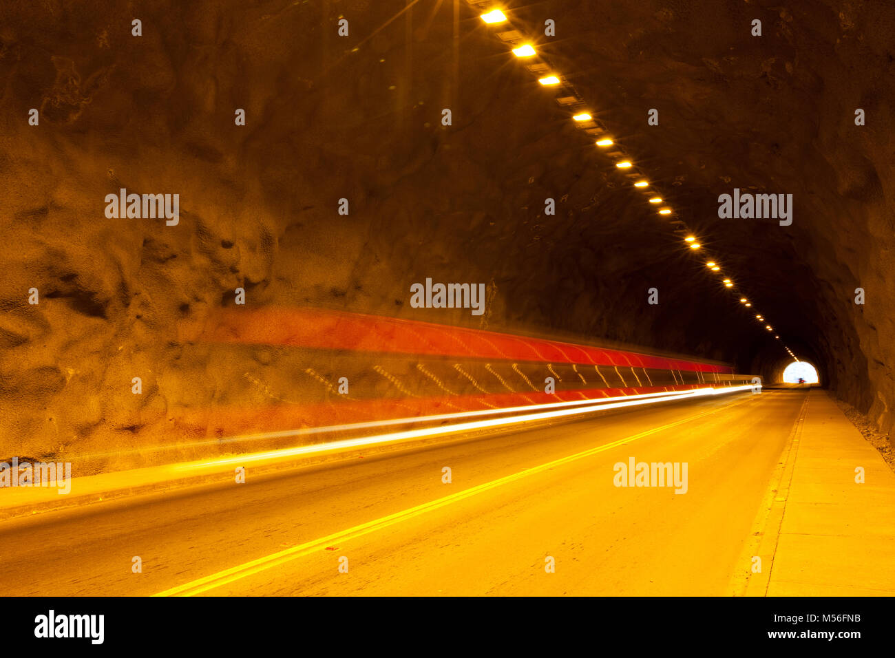 Traffic on a tunnel in Chile Stock Photo