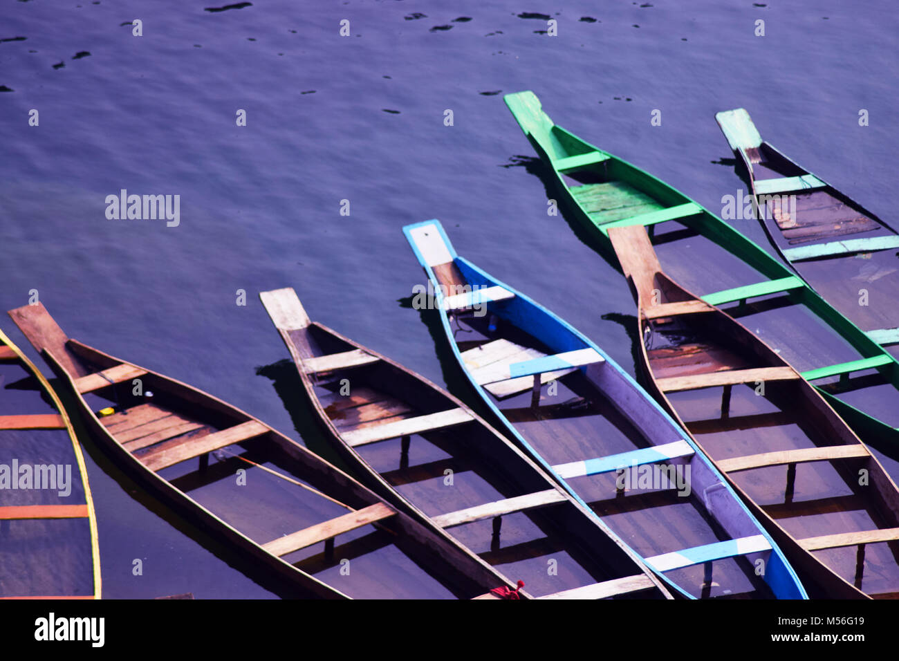 line of colorful boats - Stock Image