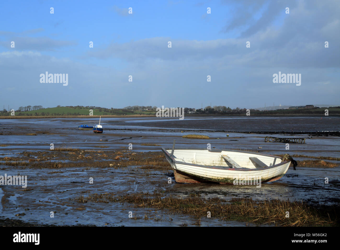 View from Sunderland Point at low tide over the River Lune, Morecambe, Lancashire, United Kingdom Stock Photo