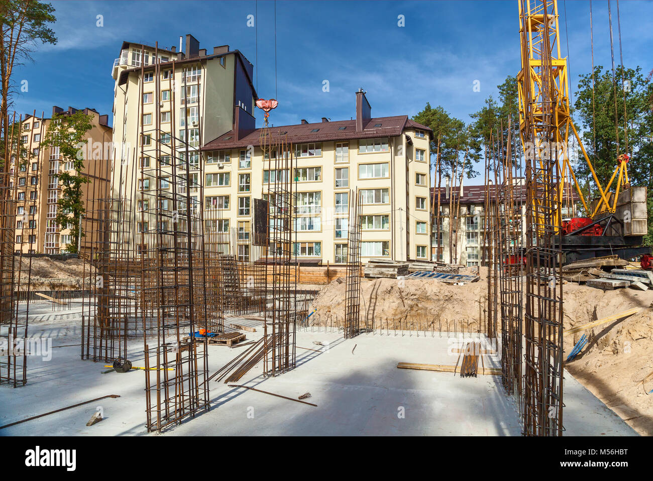 Design of reinforcement cage of reinforcement for concrete frame house, brick house, formwork for concrete pouring, Stock Photo