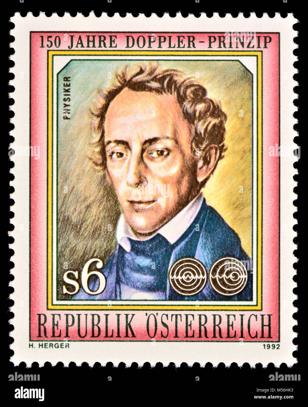 Austrian postage stamp (1992) : Christian Andreas Doppler (1803 – 1853) Austrian mathematician and physicist. He - Stock Image