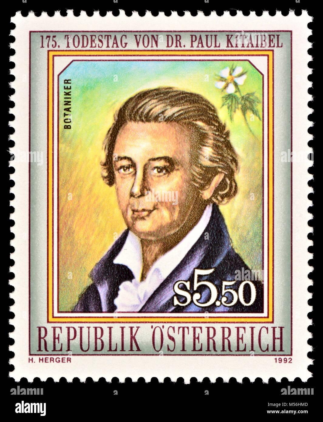 Austrian postage stamp (1992) : Pál (Paul) Kitaibel (1757 – 1817) Hungarian botanist and chemist. - Stock Image