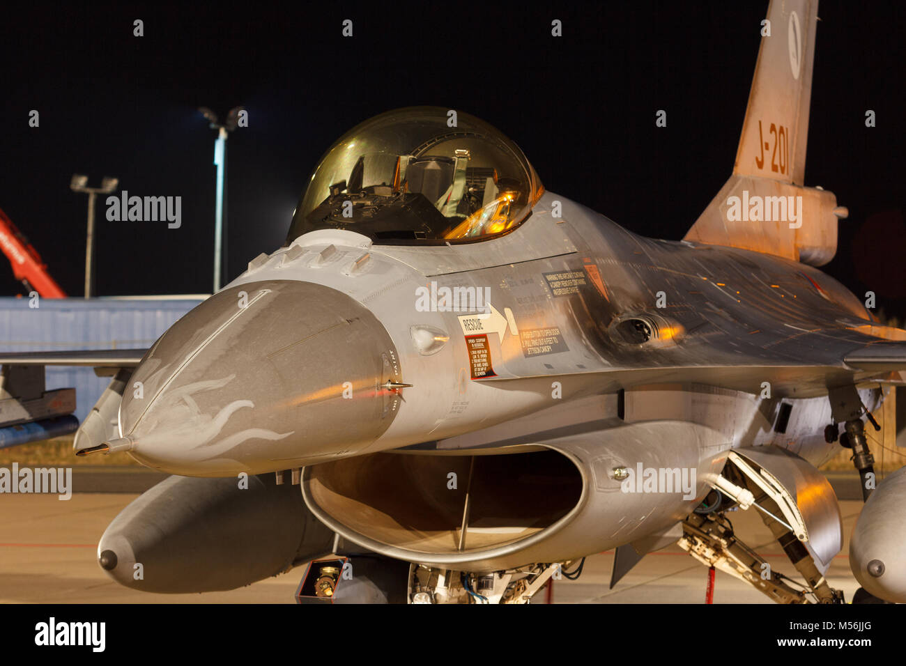 Leeuwarden Feb 6 2018: Night flight Exercise. F-16 Fighting Falcon. - Stock Image