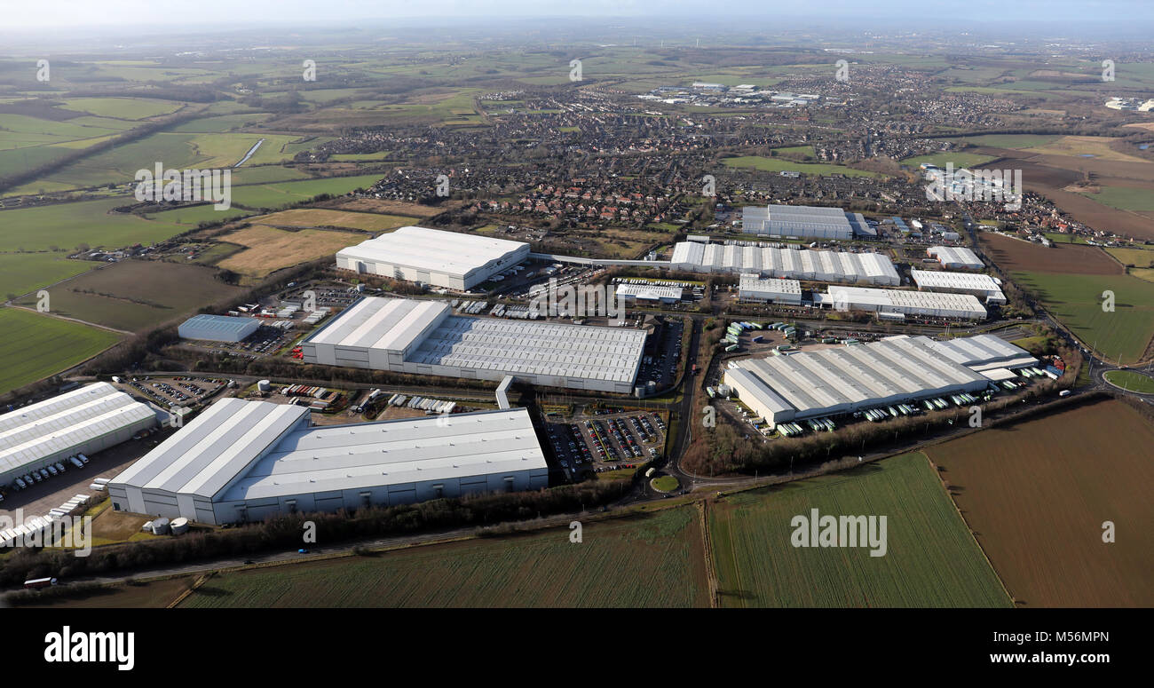 aerial view of Dale Lane & Elmsall Way Industrial Estates, South Emsall, Wakefield, West Yorkshire, UK - Stock Image
