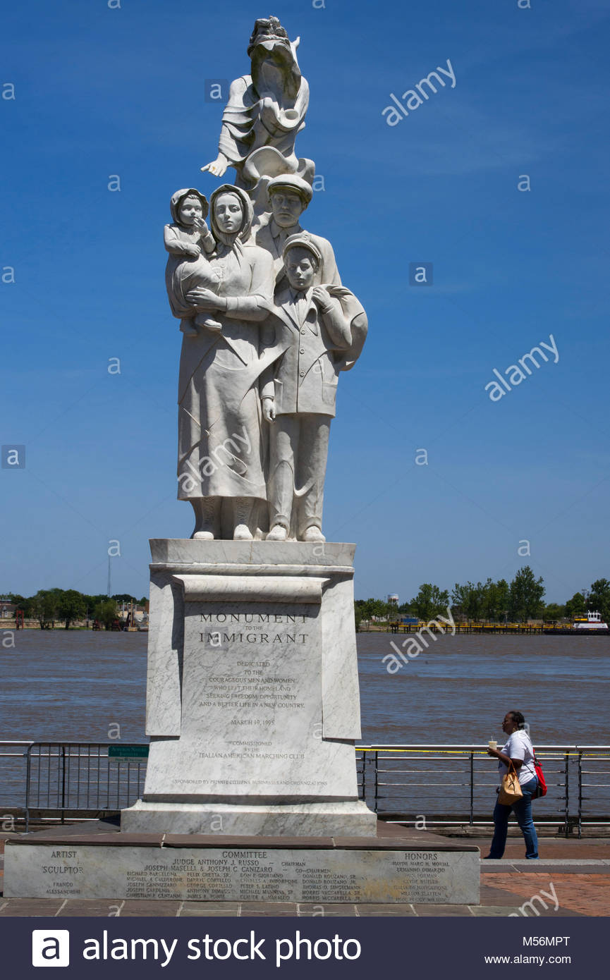 United States, Louisiana, New Orleans, the French Quarter, monument to the immigrant - Stock Image
