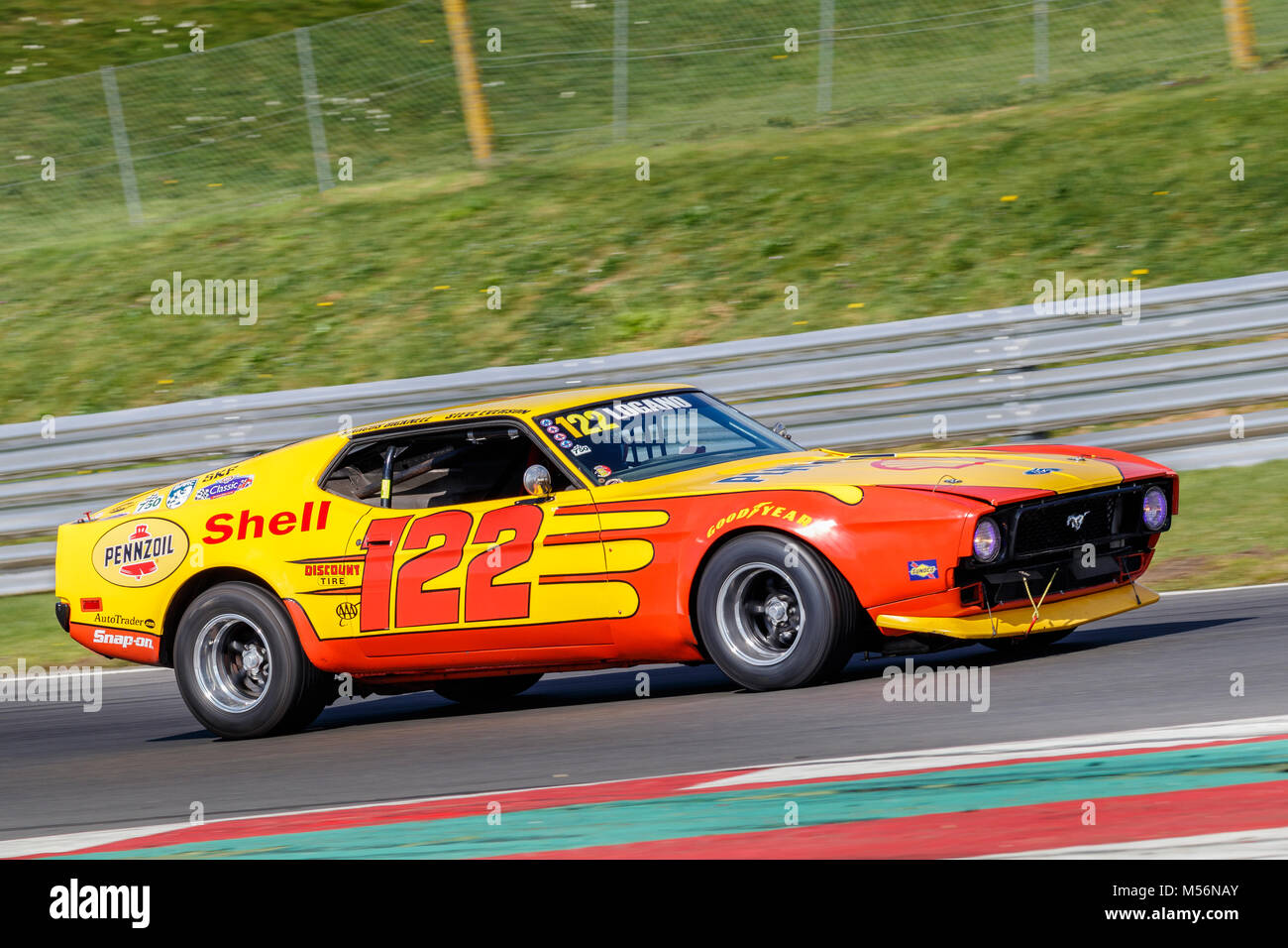 1971 ford mustang mach 1 with driver marcus bicknell during the cscc advantage motorsport future classics at snetterton motor circuit norfolk uk