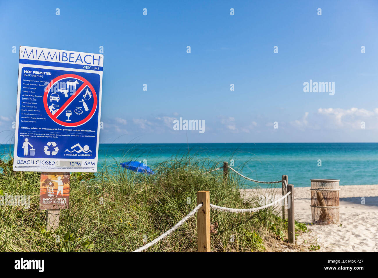 Not permitted sign, Miami Beach, Florida, USA. - Stock Image