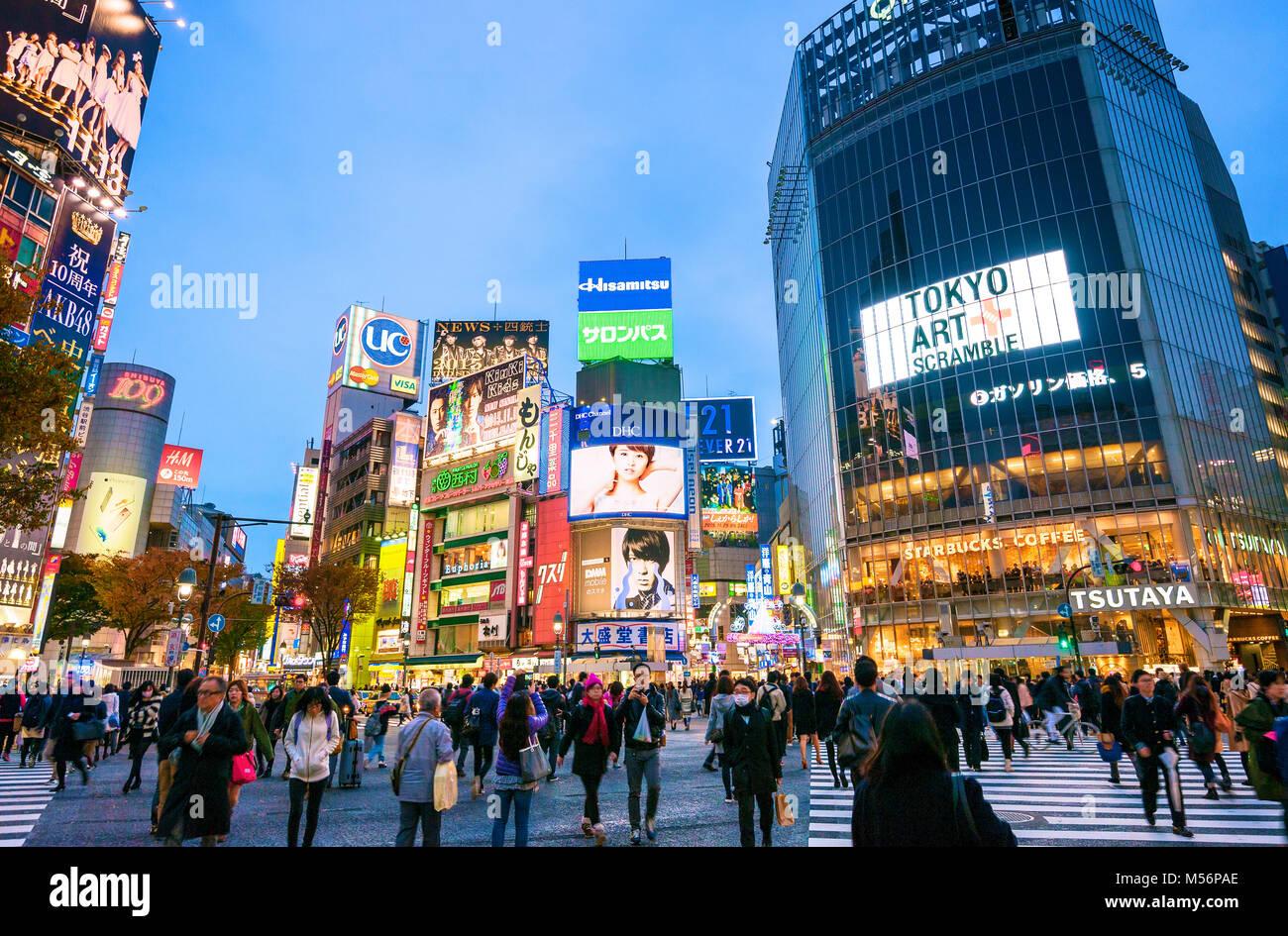 Shibuya Crossing Tokyo Japan Hachiko Square - Stock Image