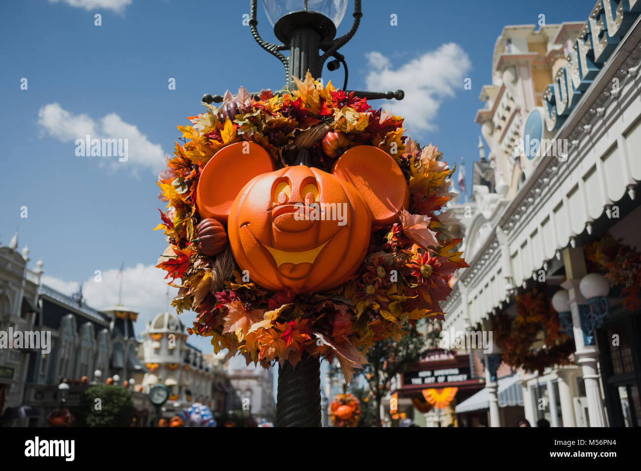 Halloween In Disney Florida.A Carved Mickey Mouse Pumpkin For Halloween At Disney World