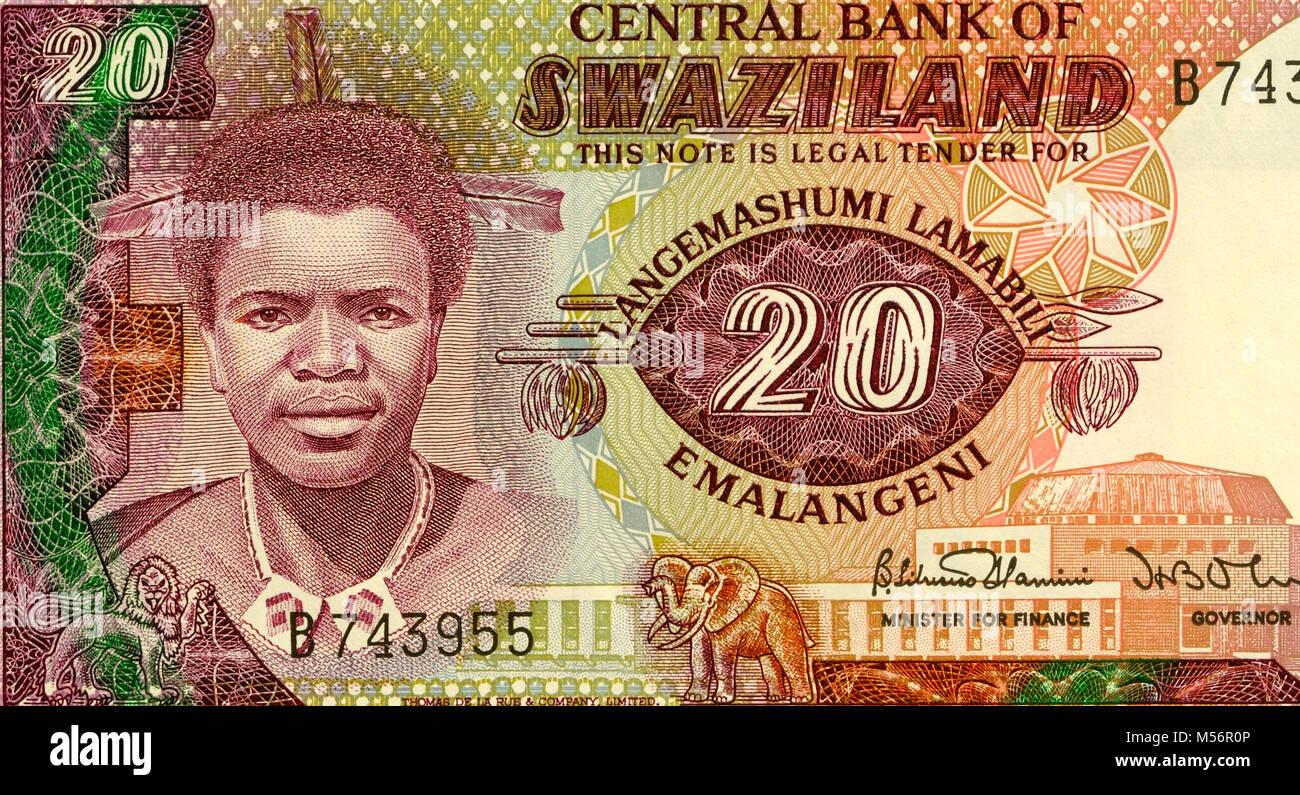 Swaziland Twenty 20 lilangeni Bank Note - Stock Image
