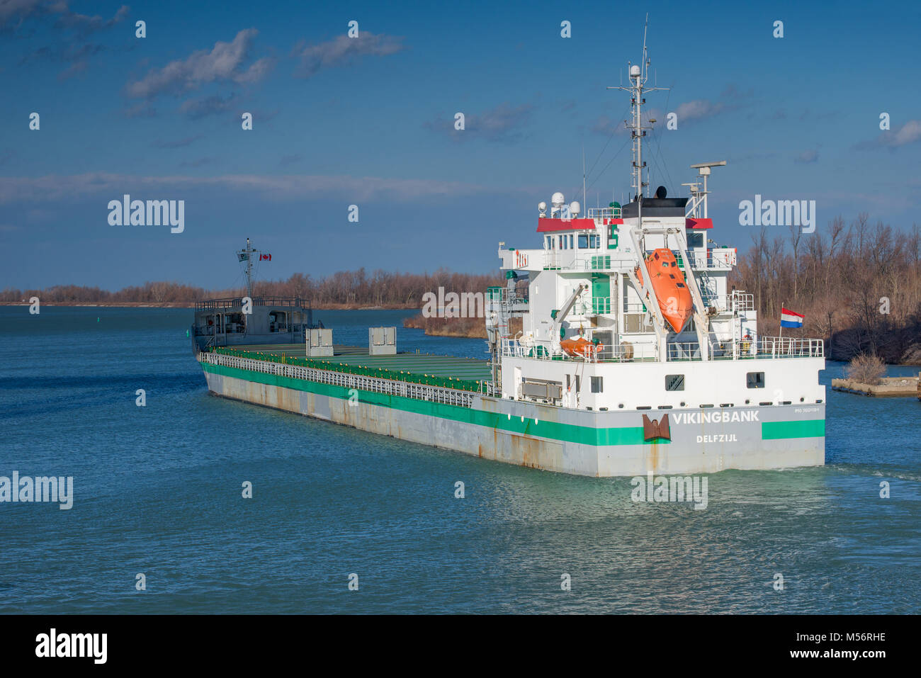 The Vikingbank General Cargo Ship passing through the Welland Canal - Stock Image