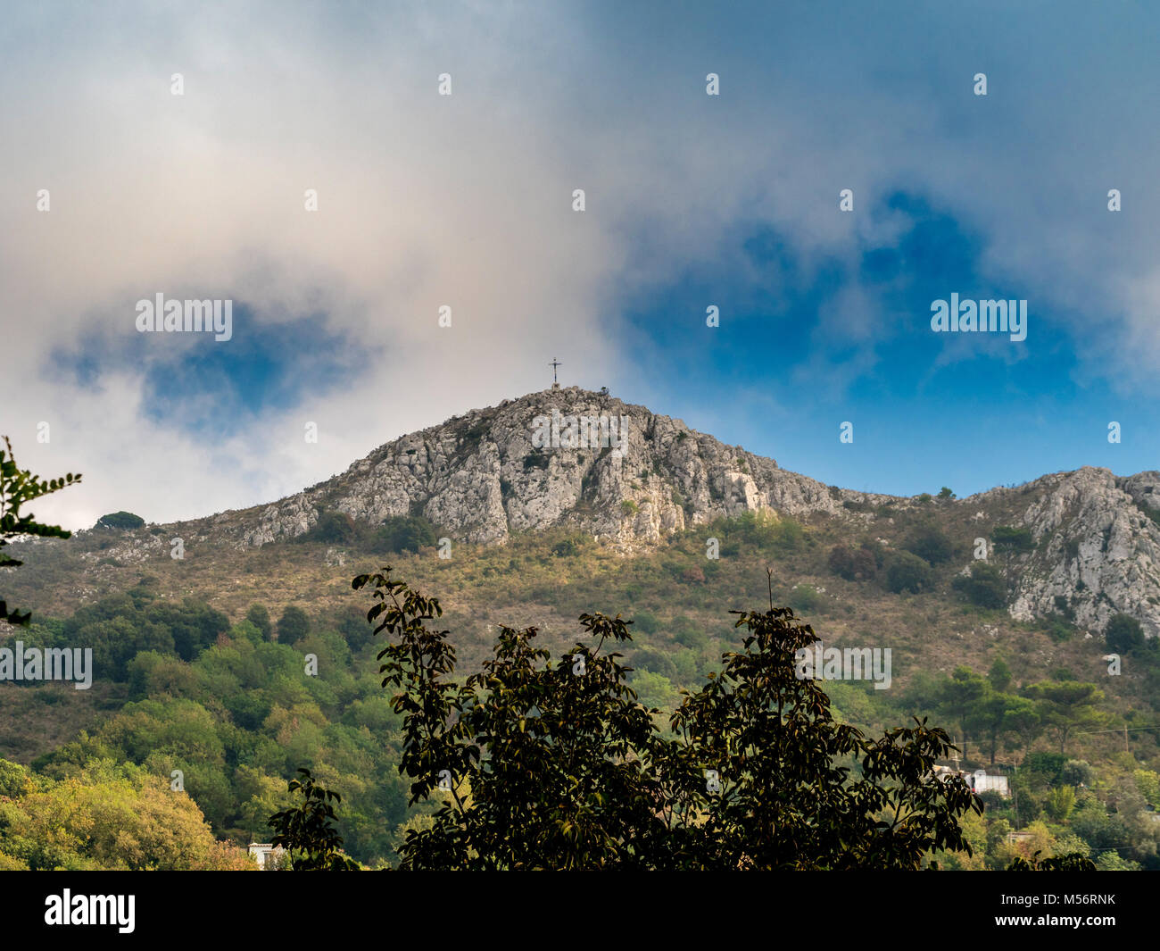 Monte Solaro with cross seen at the summit, viewed from Anacapri, Capri, Italy. - Stock Image