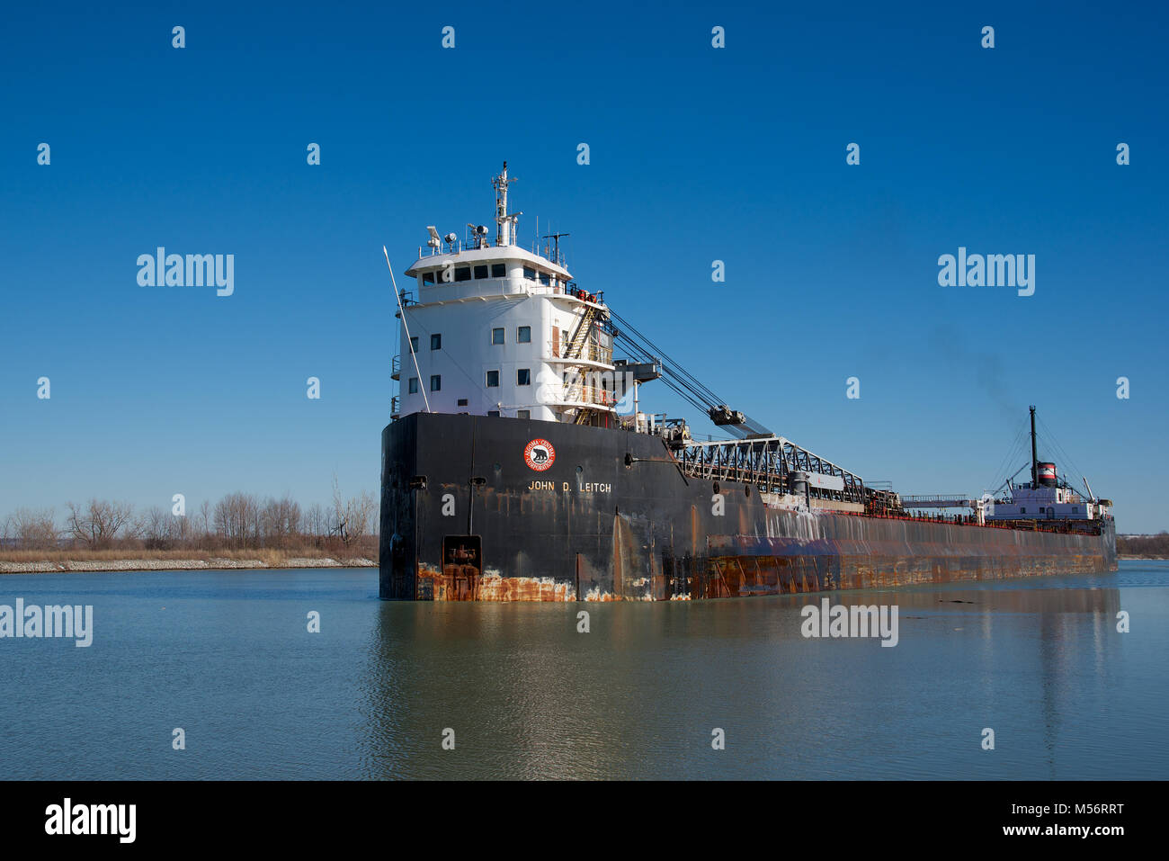The John D. Leitch bulk carrier passing through the Welland Canal - Stock Image