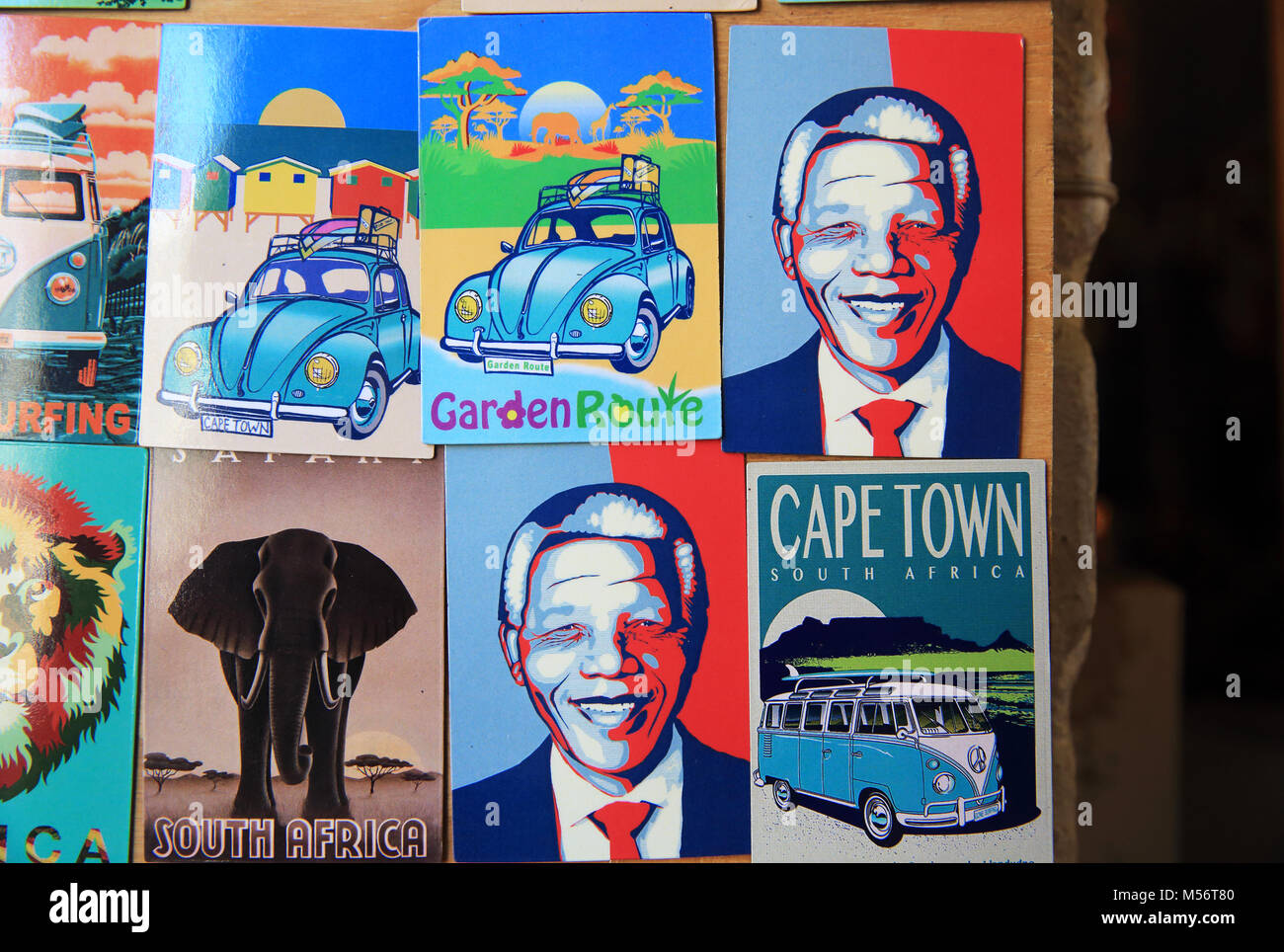 Nelson Mandela fridge magnets for sale at the Old Biscuit Mill, Woodstock, a Saturday morning market in a industrial - Stock Image