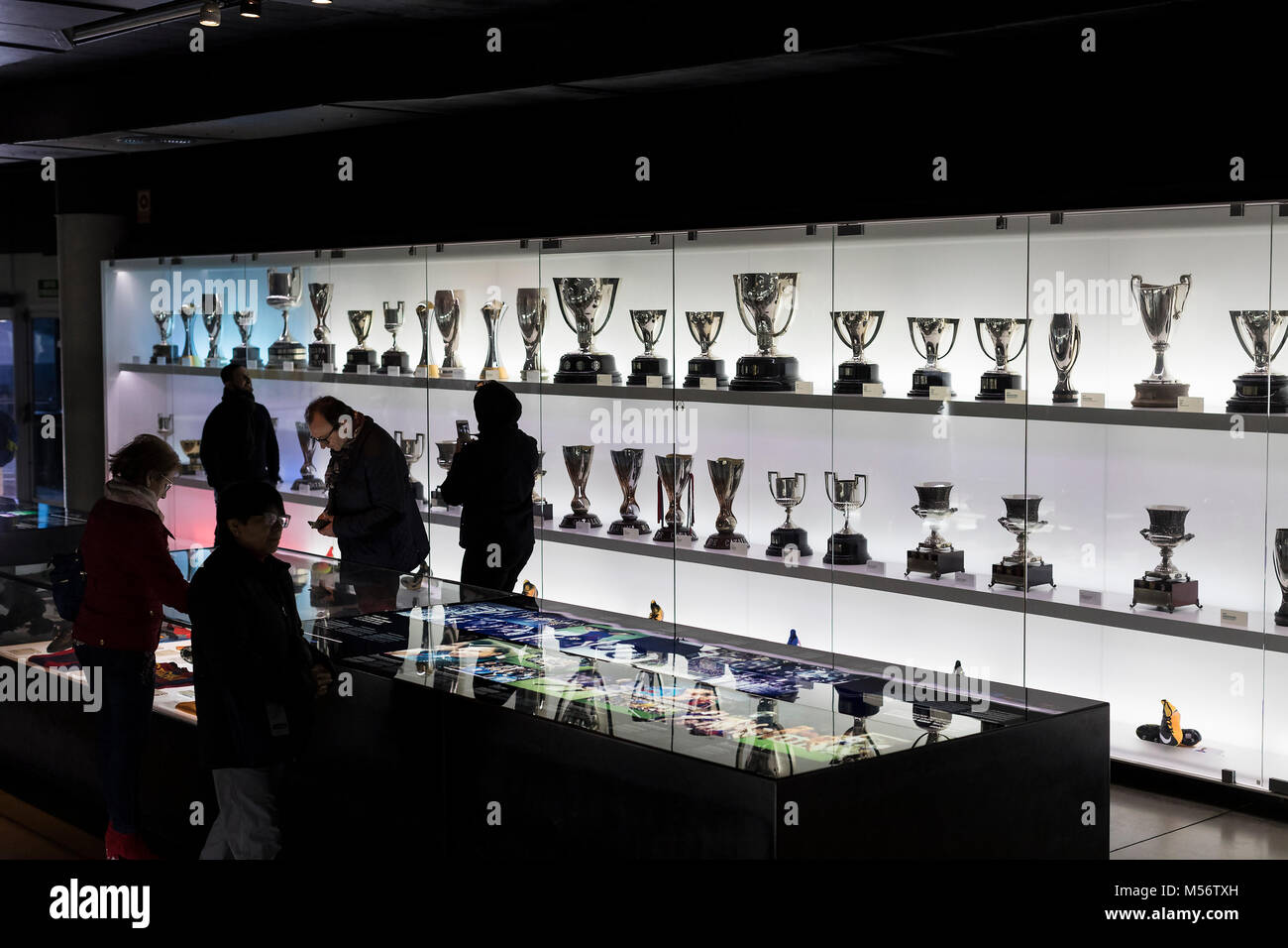 BARCELONA, SPAIN - 12 JANUARY 2018: The museum of trophies of the cups and awards of the team FC Barcelona in the - Stock Image