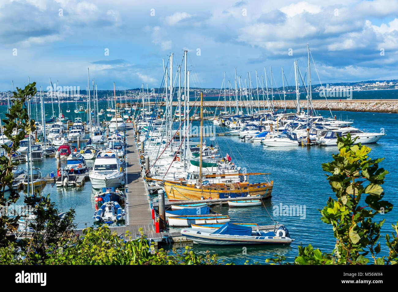Yachts in harbour at Brixham, South Devon in the UK. - Stock Image