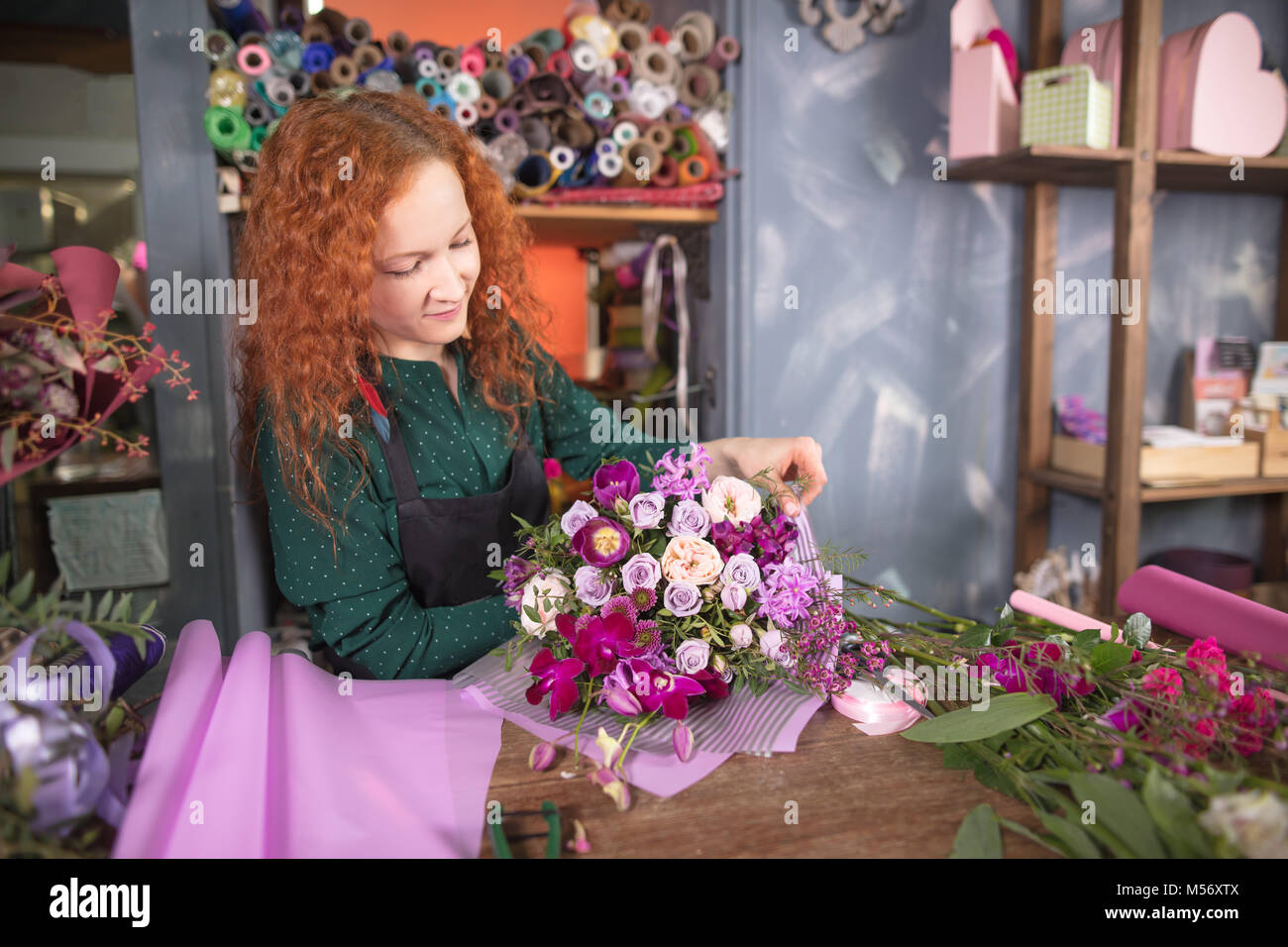 busy working hours of florist job - Stock Image