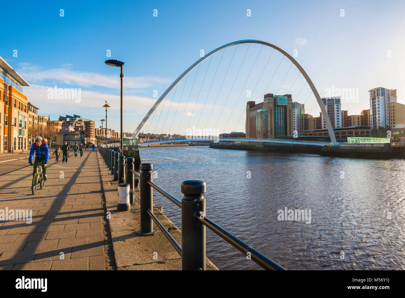 Newcastle upon Tyne Quayside, view of the Quayside showing the Millennium Bridge and the Baltic Centre for Contemporary Stock Photo