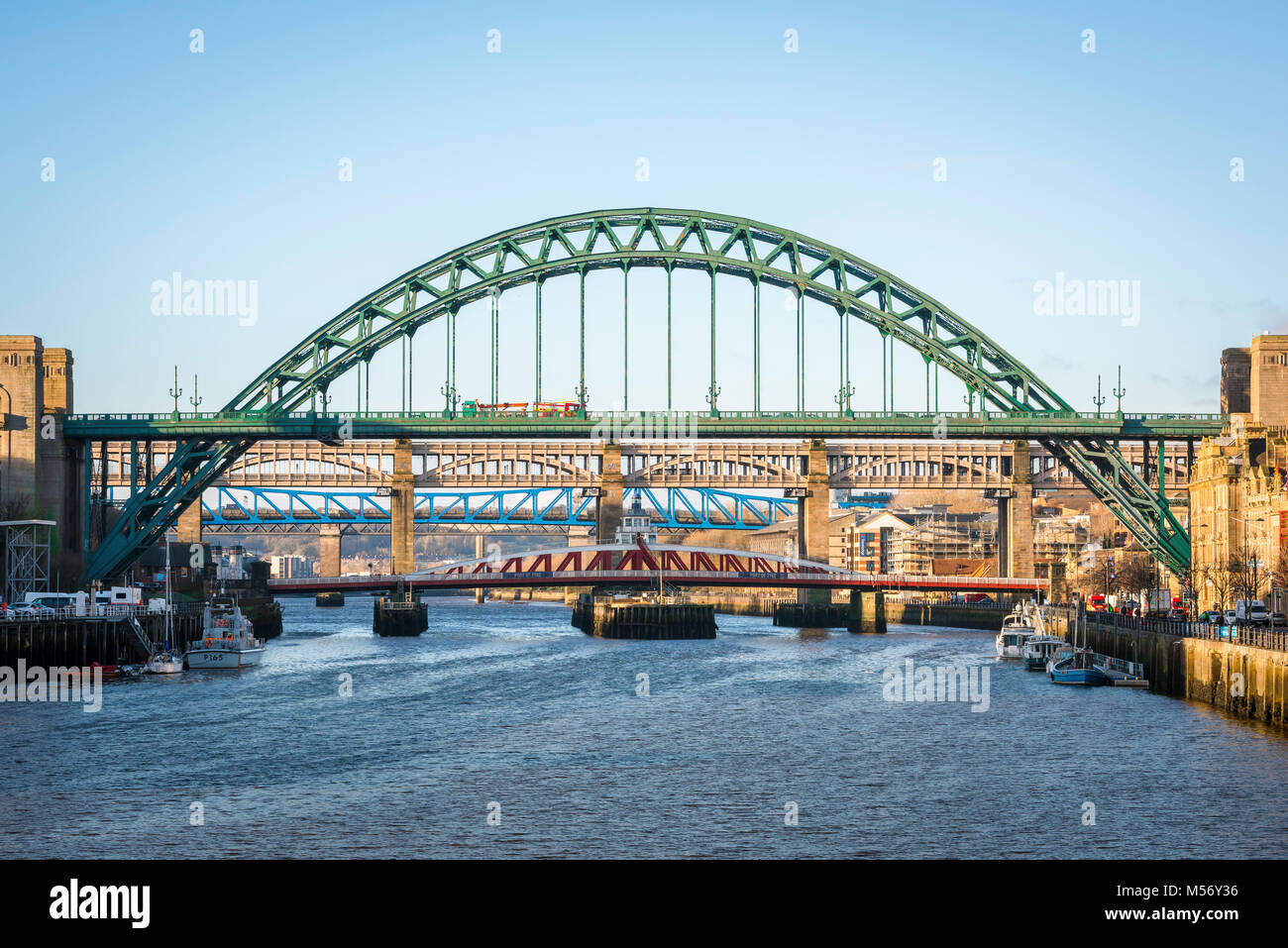 Newcastle upon Tyne, view of five bridges spanning the River Tyne in the centre of Newcastle, Tyne And Wear, England, Stock Photo