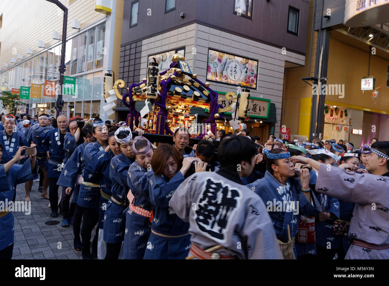 The Sanja Matsuri festival in the Asakusa district takes place every third weekend in May with its procession of - Stock Image
