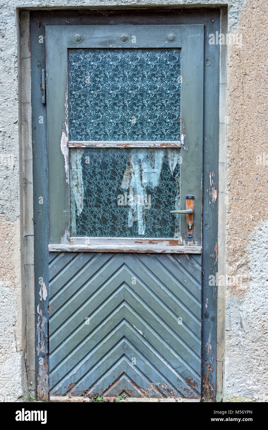 Old Blue Wooden Door With Glass Windows