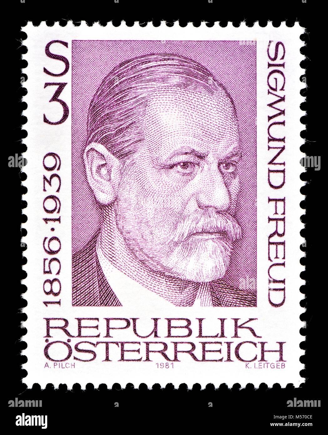 Austrian postage stamp (1981) : Sigmund Freud (born Sigismund Schlomo Freud; 1856 – 1939) was an Austrian neurologist - Stock Image