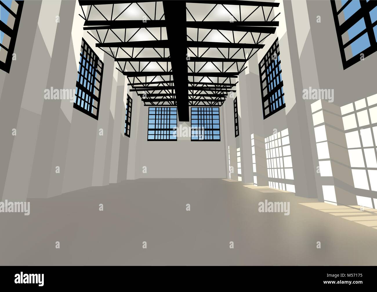 Industrial Warehouse With Windows And Led Lighting Stock Vector Image Art Alamy