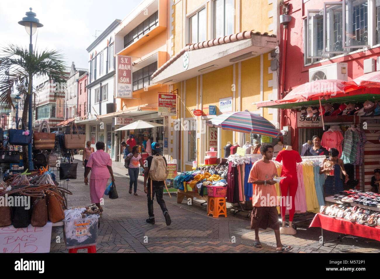 Market stalls in a street in Bridgetown, Barbados - Stock Image