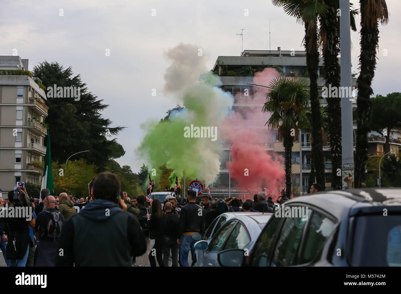 Rome, Italy 4 November 2017. Demonstration of the political movement called 'Forza Nuova' held in Rome in - Stock Image