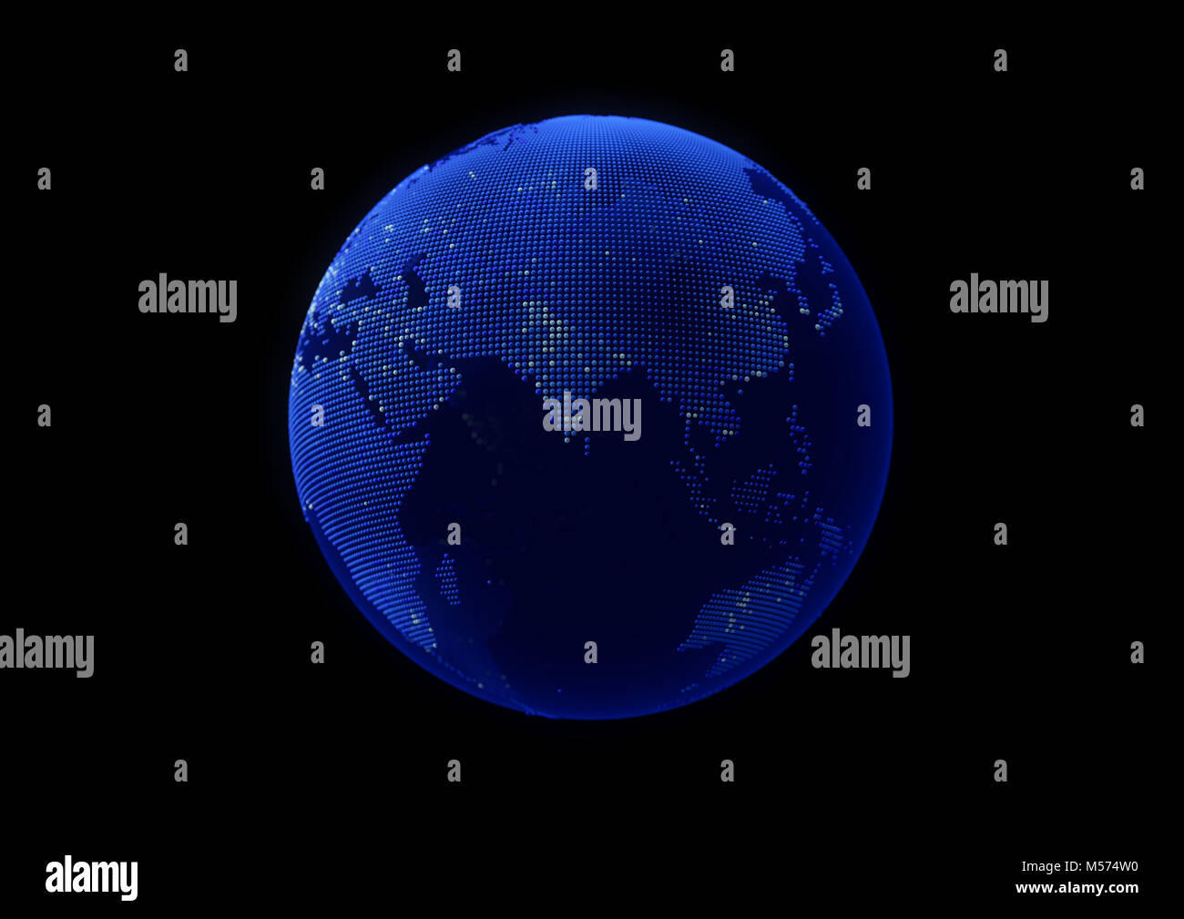 Blue point world globe Eurasia map with white dot cities on dark background. Stock Photo
