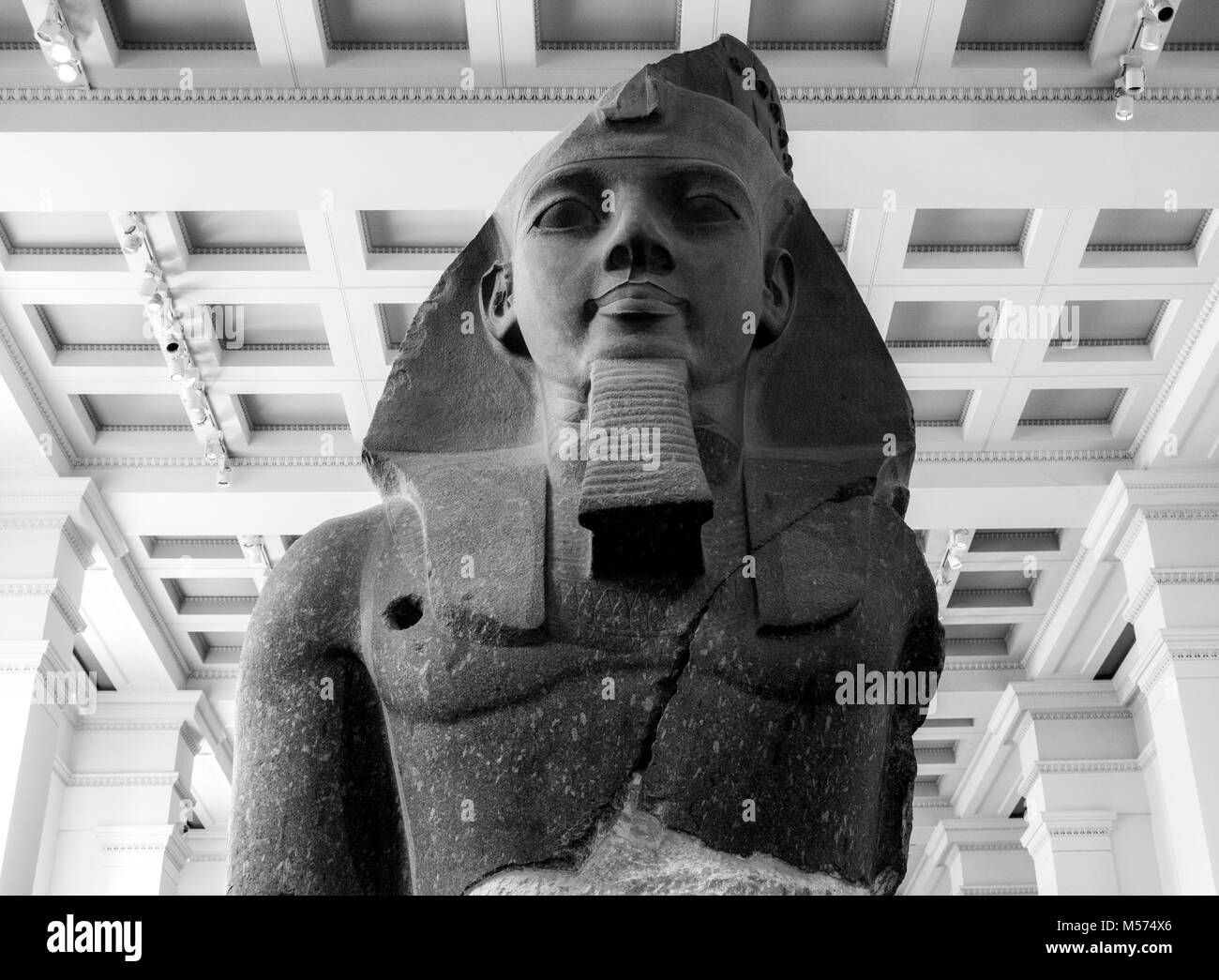 Colossal granite bust of Younger Memnon Ramesses II at the British Museum (human history, art & culture). London, - Stock Image