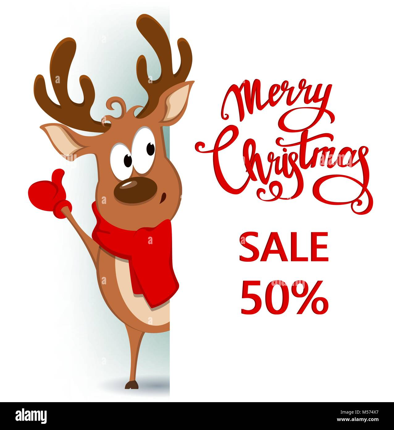 Merry Christmas Greeting Card With Funny Reindeer Standing Behind A