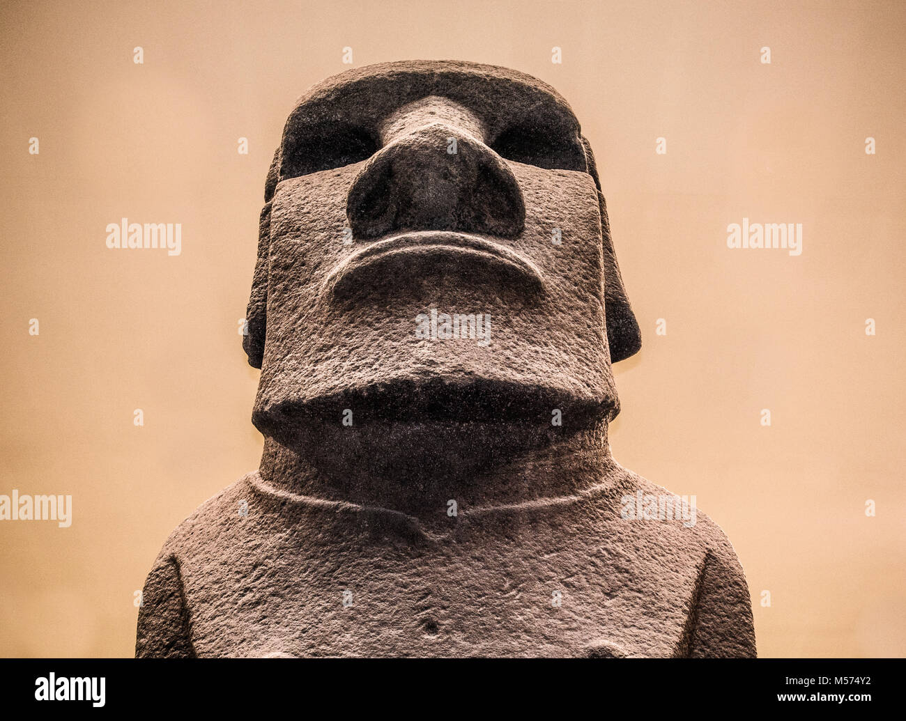 Hoa Hakananai'a - name of basalt-made human statue / sculpture (moai). Removed from Easter Island in 19th century. - Stock Image