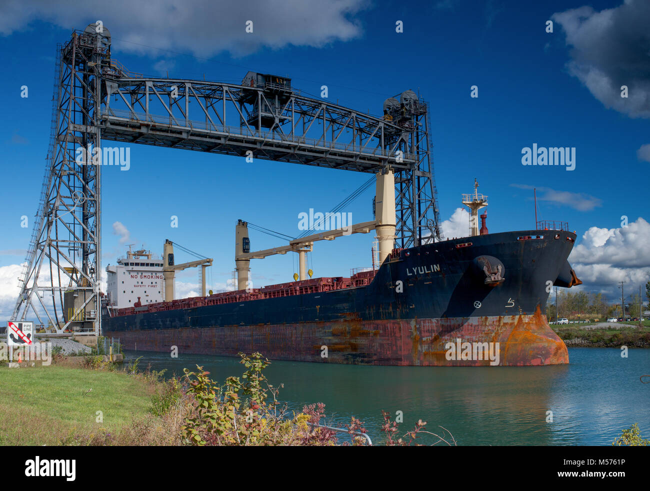 The Lyulin bulk carrier passing through the Welland Canal - Stock Image