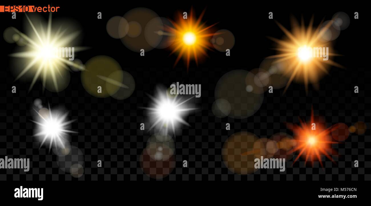 Big set of sun or lamp bokeh light lens template on dark transparent
