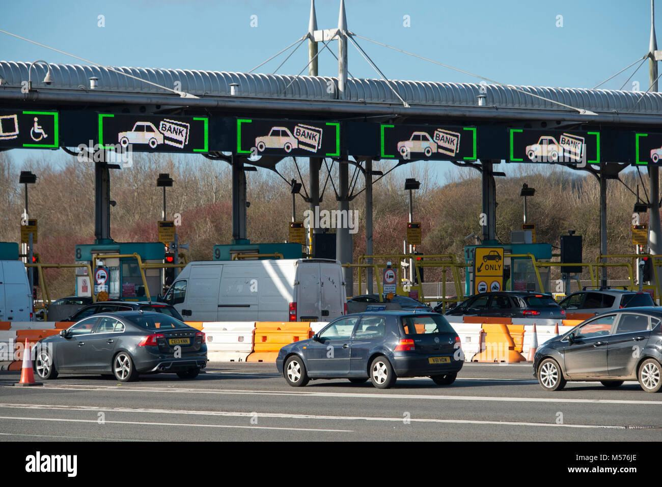 The toll booths on the Second Severn Crossing, also called the Severn Bridge and SSC, the bridge on the M4 motorway - Stock Image