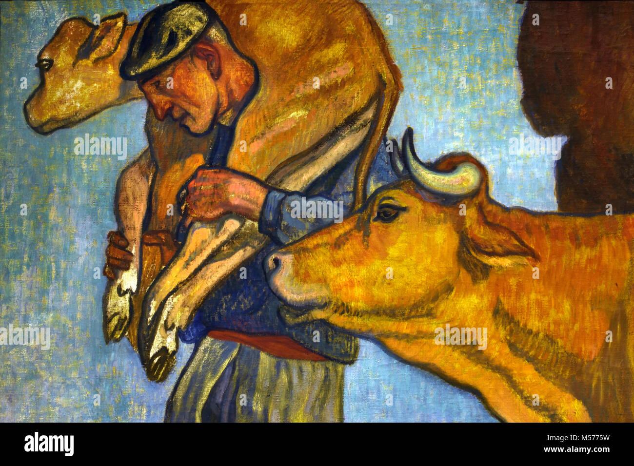 Countryman with Cow and Calf 1913 by Arteta - Aurelio, 20th, century, Spain, Spanish, Bilbao 1879 Mexico City, 1940 - Stock Image