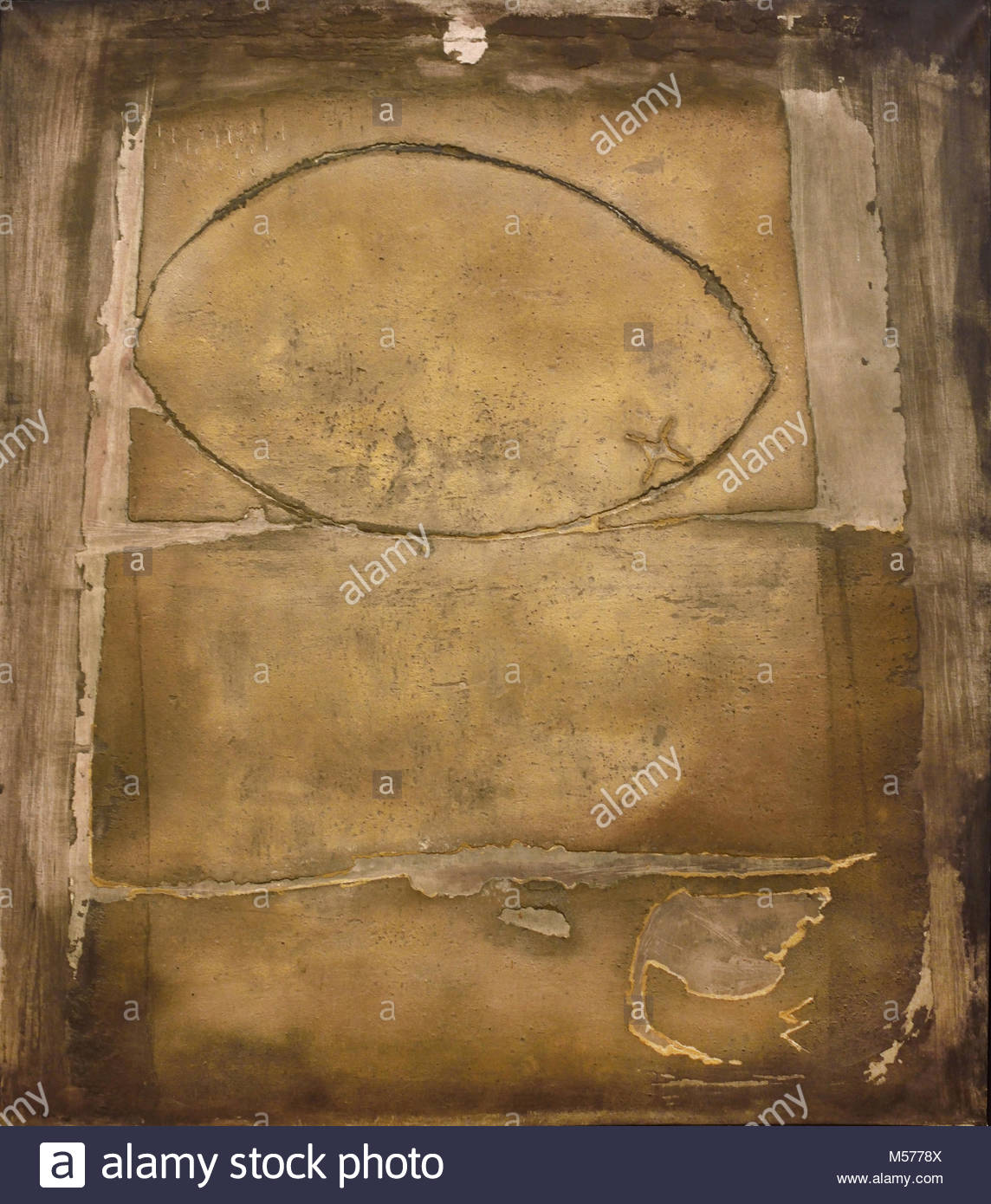 Large Oval or Painting 1955 Antoni Tàpies, 1923-2012, Mixed media on canvas, 20th, century, Spain, Spanish, - Stock Image